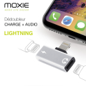 ADAPTMINI2LIGHTSIL - Adaptateur Audio + Charge Lightning Moxie coloris gris