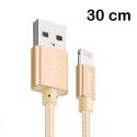 AWEI-CL988GOLD - Câble iPhone renforcé tressé nylon 30 cm gold charge et transfert