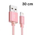 AWEI-CL988ROSE - Câble iPhone renforcé tressé nylon 30 cm rose charge et transfert
