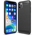 CARBOBRUSH-IP11PROMAX - Coque iPhone 11 Pro-MAX antichoc coloris noir aspect carbone