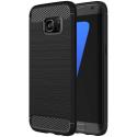 CARBOBRUSH-S7EDGE - Coque Galaxy-S7 Edge antichoc coloris noir aspect carbone