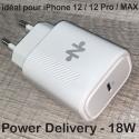 CHUSBCPD18WBLANC - Chargeur secteur PD18W sortie USB-C 18W blanc idéal iPhone 12