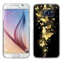 CRYSGALS6PAPILLONSOR - Coque rigide transparente pour Galaxy S6 impression motif papillons dorés