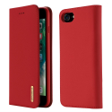 DUX-WISHIP8ROUGE - Etui iPhone 7/8 en cuir rouge rabat latéral fonction stand