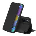 DUXSKINX-A51NOIR - Etui antichoc Galaxy A51 noir fin avec rabat latéral aimant invisible et coque arrière flexible