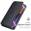 DUXSKINX-IP13 - Etui antichoc iPhone 13 noir fin avec rabat latéral aimant invisible et coque arrière flexible