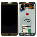 FACEAV-S5GOLD - Ecran LCD complet Galaxy S5 origine Samsung coloris noir gold