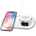 HOCO-PADQICW21BLANC - Chargeur sans fil induction blanc iPhone + Apple Watch + Airpods Hoco CW21