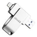 IDISKK-MIN3128V2 - Clé stockage mémoire iDiskk 128 Go iPhone iOS et ordinateurs USB