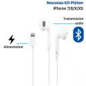 KPPOD-LIGHTNING - Ecouteurs stéréo iPhone Xs / XR filaire blanc