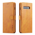 LCIMEE-S10CAMEL - Etui Galaxy-S10 LC-IMEEKE haut de gamme camel logements carte fonction stand