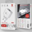 LTP-J8526-MICROUSB - LT-Plus Chargeur secteur USB + câble micro-USB compact 2.1A