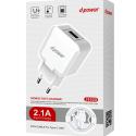LTP-J8528-USBC - Chargeur sortie USB avec câble USB-C de LTPLUS 1,2 mètre charge rapide 2.1A