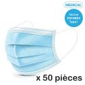 MASQUES-X50 - Boite de 50 masques jetables (de type chirurgical)