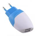 MILI-DOLPHINBLANC - Chargeur secteur 2 x USB 2.4 ampères blanc et bleu