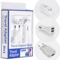 PACK3EN1-USBCBLANC - Pack 3 en 1 Chargeur secteur et allume cigare + câble USB-C blanc