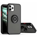 RINGO-IP13PMAX - Coque iPhone 13 Pro Max antichoc contour souple noir et dos aspect givré fumé avec anneau articulé