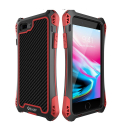 RJUST-SHOCKIP7PLUSROUGE - Coque iPhone 7+/8+ R-Just ShockProof noir rouge métal + carbone