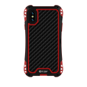 RJUST-SHOCKIPXSROUGE - Coque iPhone X/Xs R-Just ShockProof noir rouge métal + carbone