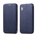 SHELL-IPXRBLEU - Etui iPhone-XR bleu fin avec rabat latéral aimant invisible et coque souple
