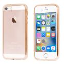 SOFTBRUSHGOLDIP5S - Coque souple iPhone SE contour gold et dos transparent