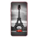 TPU0LENNY5PARIS2CV - Coque souple pour Wiko Lenny 5 avec impression Motifs Paris et 2CV rouge