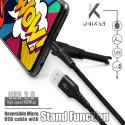 UNIKAB-MICRONOIR - Câble USB vers Micro-USB noir fonction stand et renforcé Kevlar
