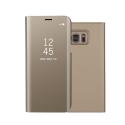 WALLCLEAR-S7GOLD - Etui Galaxy-S7 série View-Case avec rabat translucide coloris gold