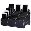 WOODBOX-NOIR - Boite Rangement en bois pour smartphone 24 emplacements coloris noir