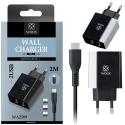 WOOX-WA2509 - Chargeur secteur 2xUSB 2.4A + Câble Type-C de 2 mètres