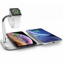 ZEDC05W - Chargeur induction 20W Aluminium / sans fil DUAL Certifié QI Fast Charging Certifié compatible Apple