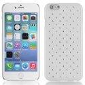 ZIRCOIP655BLANC - Coque rigide blanche avec des strass incrustés pour iPhone 6 Plus 5,5 pouces